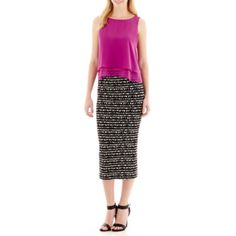 Bisou Bisou® Sleeveless Layered Blouse And Print Midi Pencil Skirt - JCPenney