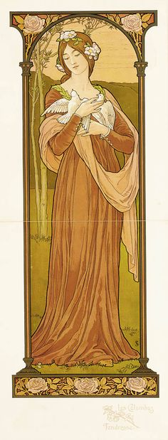 "Mucha Style - Illustration in style of ""Alphonse Mucha"" by ""Elisabeth Sonrel… Art Nouveau Mucha, Alphonse Mucha Art, Art Nouveau Poster, Art And Illustration, Illustrations, Arte Art Deco, Jugendstil Design, Inspiration Art, Kunst Poster"