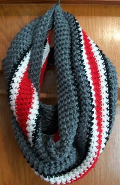 Ohio State Buckeyes type Infinity Scarf Hand by Hatscents on Etsy