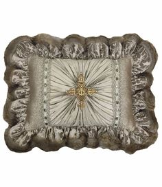 Taupe Silk and Damask ruffled accent pillow with Faux FurSwarovski jeweled cross