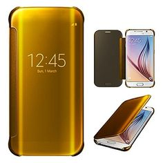 From 3.95:Xtra-funky Range Samsung Galaxy S6 Edge Plus - Smart Date / Time View Mirror Shiny Flip Hard Case Cover With Sleep / Wake Function - Gold