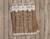 Burlap and Lace Wedding Invitation Rustic by MissBlissInvitations