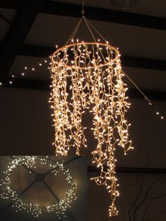 Hula Hoop Chandelier. I didn't realize there was so much you could do with a hula hoop! Perfect for my outside patio underneath my deck!! 1 hula hoop (spray painted) + 2 strings of icicle lights (you can use more) and a black electrical tape = magnificent chandelier. Great for parties or summer evening!