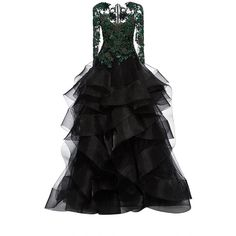 Marchesa Embroidered Cascading Tulle Ball Gown ($8,995) ❤ liked on Polyvore featuring dresses, gowns, gown, beaded evening dresses, beaded dress, black beaded dress, beaded gown and black beaded gown