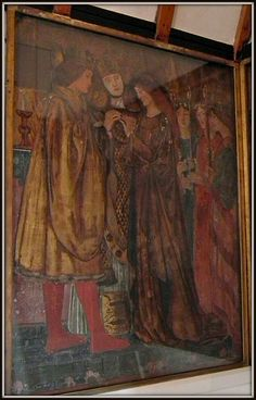 This is one of three paintings - by Edward Burne-Jones based on the Romance of Sir Degrevaunt - in the drawing room at Red House at Bexleyheath. The house (a Grade I Listed Building) was designed by architect Philip Webb & William Morris for Morris & his wife Jane. #William_Morris #Philip_Webb #Red_House #Edward_Burne_Jones