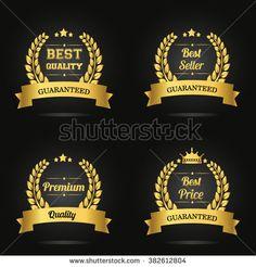 Vector badge collection. Premium quality guaranteed golden label, Best quality golden label, Best seller golden label, Best price golden label. Vector illustration.