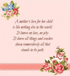 A Mother's Love for her Child...