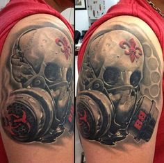 Skull & mask black gray & red tattoo