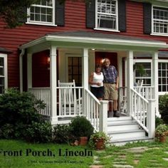 Here's a traditional porch on the front of a classic New England colonial home in Lincoln, MA. Simple square columns, colonial rails, a flat ceiling, and a hip roof that mimics the house roof (not vis(Wooden Step Porch) Front Porch Deck, Front Porch Addition, Small Front Porches, Front Porch Design, Porch Roof, Decks And Porches, Front Entry, Porch Designs, Porch Railings