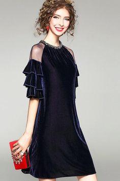Beaded A-Line Dress W/ Ruffled Sleeves