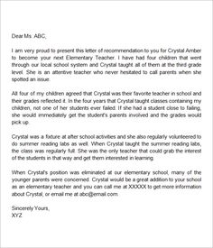 letter of recommendation for an elementary student