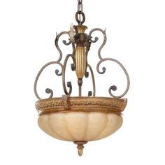Hampton Bay Chateau Deville 3-Light Walnut Bowl Pendant-17024 at The Home Depot