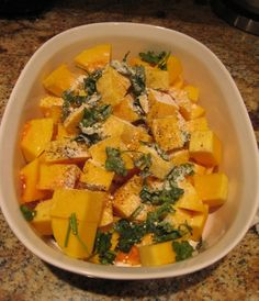 Garlicky Baked Butternut Squash Week 1 - Make it without the parmesan cheese. Week 2 - Cheese!