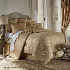 Shop for waterford linens anya at Bed Bath & Beyond. Buy top selling products like Waterford® Linens Anya Tailored Window Valance and Waterford® Linens Anya European Pillow Sham. Gold Comforter Set, Luxury Comforter Sets, Queen Comforter Sets, Gold Bedding, Red Comforter, Waterford Bedding, European Pillows, California King, Modern Architecture