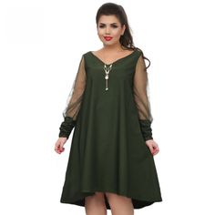 COCOEPPS 2018 Loose Solid women dress perspective long Sleeve Big sizes  dress plus size casual dresses Large Clothing bf4260cc4a56