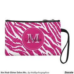 Diva Hot Pink Glitter Zebra Monogrammed Cosmetic Bag - Monoram & Zebra print on the front and Pink Glitter on the Back.  #zebra #pattern #zazzle #monogrammed #pink #glitter #personalized #teen  @zazzle