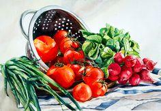 Maria Mishkareva, Gemüse, Aquarell, Vegetables, Watercolor