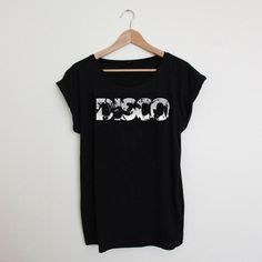 Womens Disco Black How To Roll Sleeves, T Shirts For Women, Tees, Mens Tops, Cotton, Black, Style, Fashion, Swag