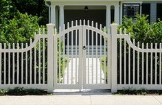 Get tips on designing attractive privacy fencing. Plus learn the right height for a privacy fence., Front yard fence, Fences and House fence design, Fences, Backyard fences and Fencing. House Fence Design, Fence Gate Design, Front Yard Design, Front Yard Fence Ideas Curb Appeal, Fence Options, Front Yard Landscaping, Front Gates, Front Fence, Metal Fence