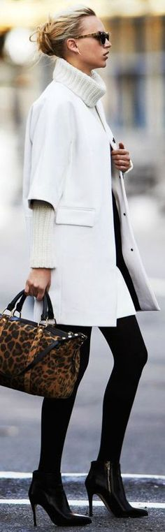White coat + leopard print bag + killer booties