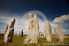 Ancient Callanish standing stones on the Isle of Lewis in the Outer Hebrides, Scotland.    NOTE TO REVIEWER: the correct spelling is Callanish or Calanais.
