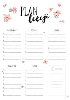 Plan lekcji. Organization Bullet Journal, Notebook Organization, Bullet Journal Notes, Bullet Journal 2019, School Timetable, School Planner, Diy School Supplies, School Notes, Weekly Planner