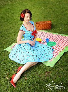 Pinup Couture Heidi Dress in Cat Print