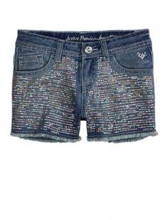 Allover Embellished Denim Shorts