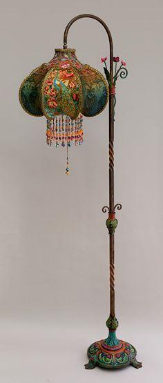 Art Nouveau Peacock Victorian Bridge Lamp and Shade #antiqueorvintagelamps