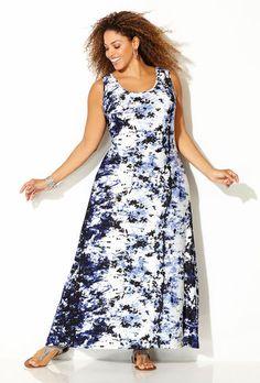 Splatter Print Maxi Dress,