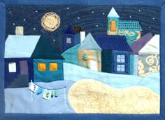 Twilight Winter Village wall quilt