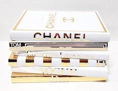 6 Large Coffee Table Books – Gold & White – The Little Book of Chanel Christian Louboutin Christian Dior Vogue Fendi Tom Ford This designer inspired book set is handcrafted from brand new books and transformed into the perfect home accessory just for you! Large Coffee Tables, Coffee Table Books, Anna Bond, Cafe Gold, Table Cafe, Fendi, Little Books, Fashion Books, Diy Fashion