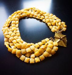 """ROX 6-Strand Faceted Honey Jade Necklace with Hammered Square Brass Clasp.  18"""". $375 mkt.com/rox-minneapolis-jewelry #rox #roxmplsjewelry #roxminneapolisjewelry #jade #brass #christmasgifts #necklaces"""