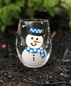 Snowman handpainted stemless wine glass/winter wine glass/Christmas wine glass/Snowman gifts/Snowman glasses/snowman glassware/READY TO SHIP Christmas Wine, Christmas Bulbs, Stemless Wine Glasses, Champagne Flutes, Hand Painted, Painted Snowman, Handmade Gifts, Snowmen, Winter