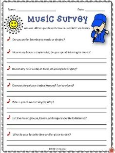 Start the New Year with these fun surveys for your music classes!   These surveys will:  ♦ Get your students thinking and writing.   ♦ Give you an insight into your students' music listening habits and thoughts and opinions about music!    #musiceducation        #musedchat