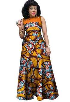 African Dresses for Women, African Print Clothing, Ankara Long Dress Plus Size - Owame