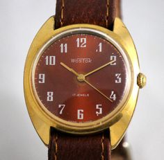 Excited to share the latest addition to my #etsy shop: Wostok(Vostok) Vintage SERViCED Luxury watch 17 Jewels GOLD Plated Case AU 20 made in UsSR http://etsy.me/2DRLG6l #accessories #watch #rosegold #red #artdeco #leather #gold #no #unisexadults