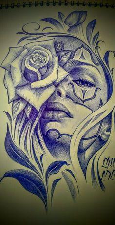 Rose Drawing Tattoo, Tattoo Sketches, Tattoo Drawings, Chicano Tattoos Sleeve, Tumblr Girl Drawing, Arte Lowrider, Yogi Tattoo, Mexican Tattoo, Prison Art