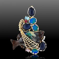"""Pendant """"Fish"""" with sapphires, opal, amethyst, topaz, ruby, diamond from combined gold 585"""
