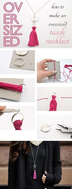 How to make an oversized tassel necklace... You can make a half a dozen of these in no time, and customise them for friends.