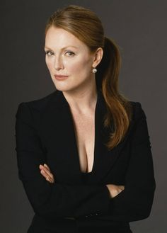 Julianne Moore cleavage in a little black dress
