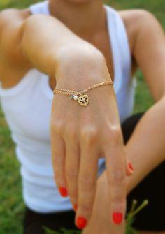 Oh yes please...so utterly delicate & feminine....love... Gold bracelet 14k gold filled heart bracelet gold chain by AAprill, $42.00