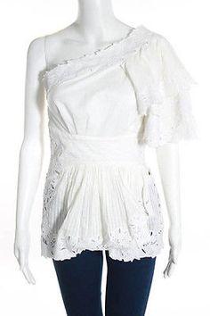 Catherine Malandrino White Cotton Zip Up One Shoulder Ruffled Blouse Size 2
