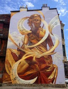 The Golden Muse by Tim Parsley, Cincinnati #graffiti #streetart