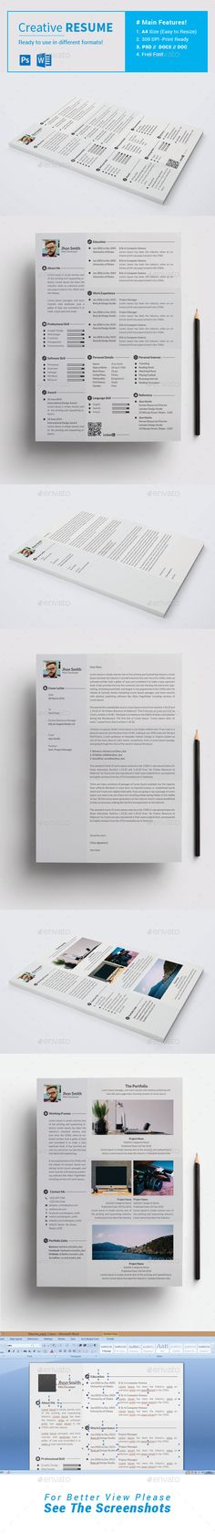 Resume by GoldenLayers The Package Includes: 03 . College Resume Template, Simple Resume Template, Resume Design Template, Creative Resume Templates, Cv Template, Portfolio Print, Cv Web, Lato Font, Editable