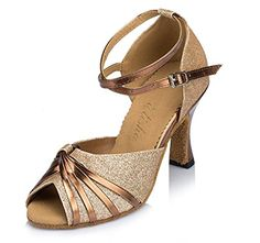 CRC Womens Stylish Peep Toe PU Knot Bronze Sparkle Material Ballroom Morden Salsa Latin Tango Party Wedding Professional Dance Sandals 115 M US >>> Details can be found by clicking on the image.