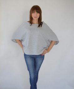 dresowa szara bluzka nietoperzowa one size (proj. nowenienowe), do kupienia w DecoBazaar.com