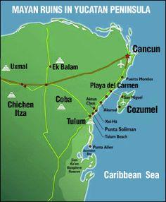 Map of Mayan Ruins in Yucatan Peninsula