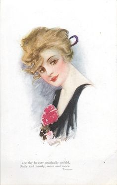 woman with golden hair, black dress, faces left, looks front