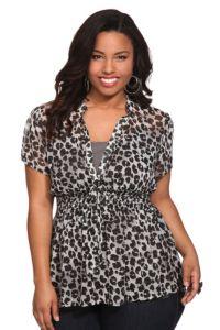 Leopard chiffon top